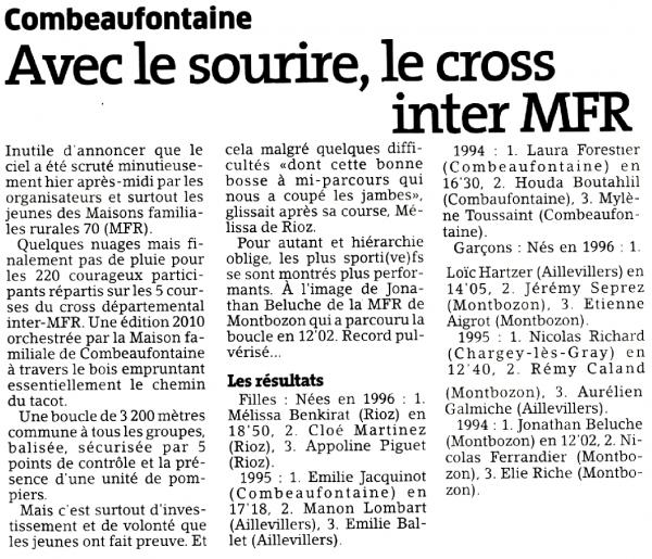 MFR Aillevillers - EST REPUBLICAIN - 19 11 2010 - cross inter mfr du 18 11 2010 - article